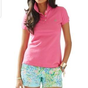 Lilly Pulitzer Pima Cotton Pink Polo Shirt - EUC